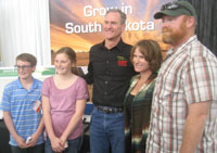Governor Daugaard flanked by Colton and his family after the interview concluded.