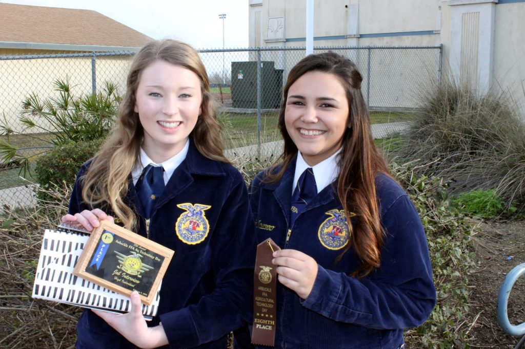 """Atwater FFA member Amanda Skidmore and Makala Navarro earned """"Top 10"""" finishes in the FFA Job Interview contest where students demonstrate all facets of job application and interview skills."""