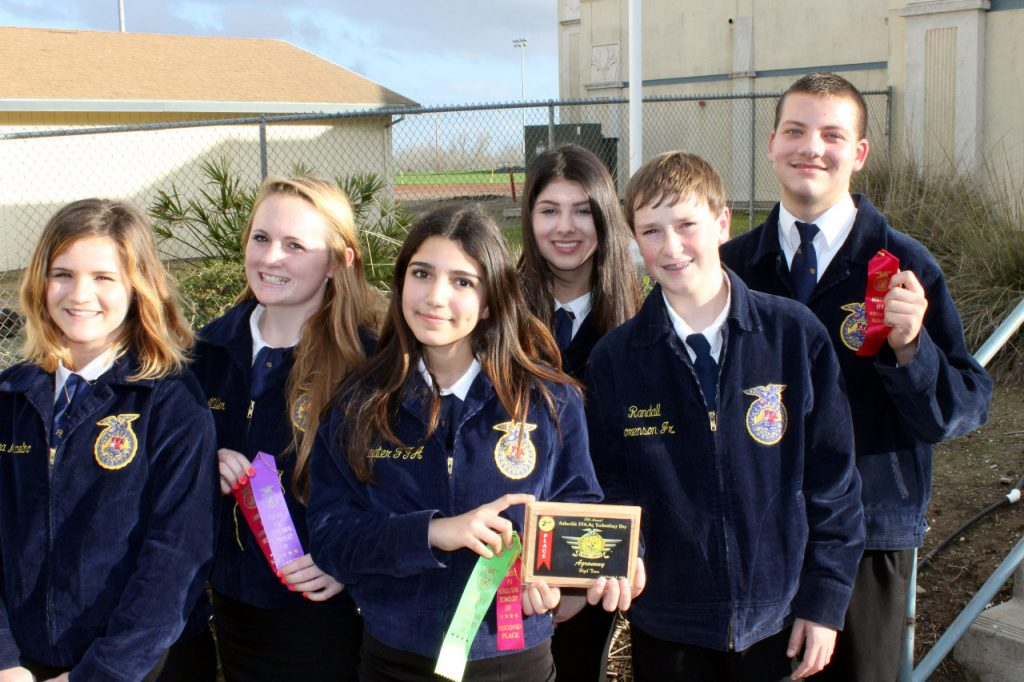 The Atwater FFA Agronomy team's Breanna Marcelino, Emily McCartney, Belinda Espinoza, Catalina Diaz, Kyle Yerrick, and Dillon Guillen showcase their awards for their 2nd place team finish.