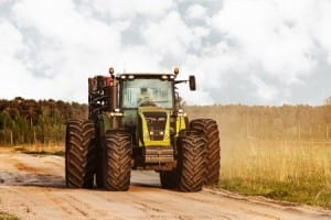 Big tractor on a road