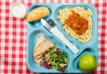 Tray of food for school meals