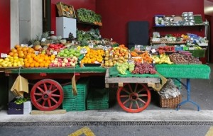 Fruits and vegetables in cart at market