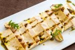 Grilled tofu with mushrooms.