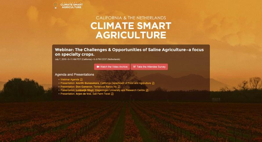 Climate Smart Agriculture Online Webinar
