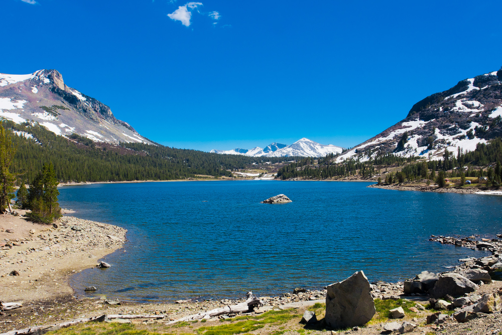 Snow capped Mountains and Lake in Yosemite National ParkCalifornia.