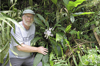 Alan Meerow with Griffinia intermedia (Amaryllidaceae) in Brazil. Photo: Judy Dutilh.